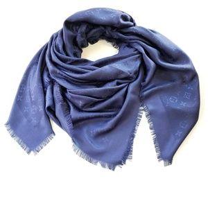 Louis Vuitton Monogram Silk Night Blue Scarf Shawl